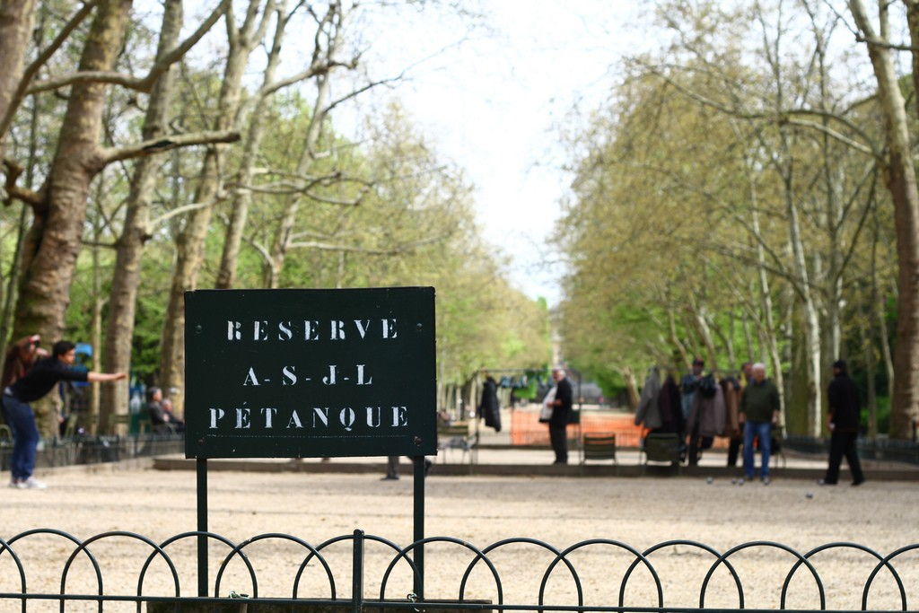 The French call Bocce ball Petanque.Jardin du Luxembourg